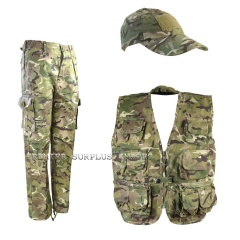 Kids Childrens MTP Camo Trousers Waistcoat Cap Set